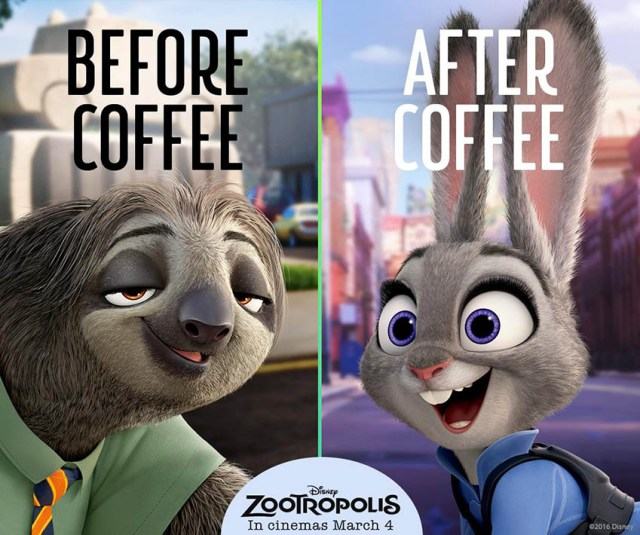 Zootropolis, before & after coffee