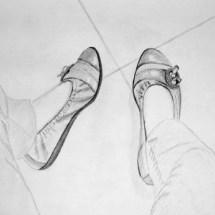 Adulte-Etude des chaussures au Crayon 2B