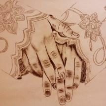 Adulte-Etude des mains à la sanguine