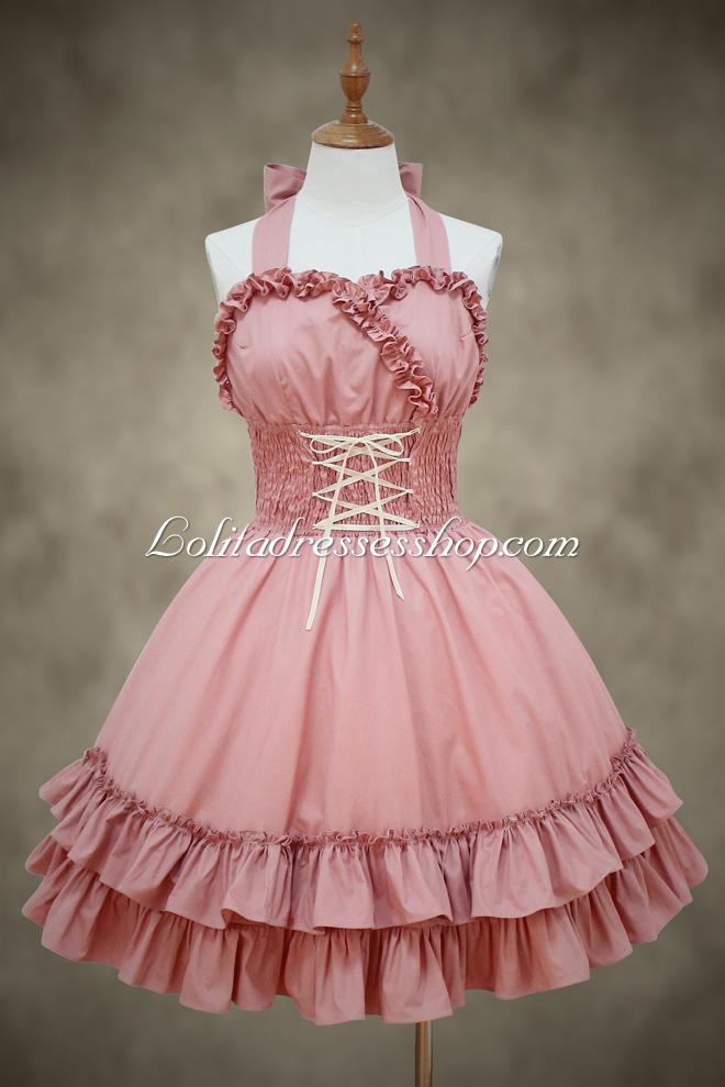 Cheap Beautiful Ladies Pink Straps Sweet Lolita Dress Sale