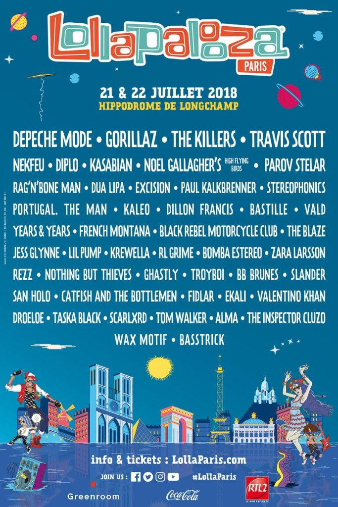 Lineup Lollapalooza Paris 2018
