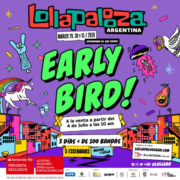 Early Bird del Lollapalooza 2019 Argentina