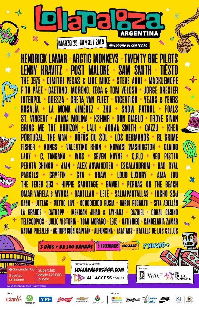 Lineup del Lollapalooza 2019