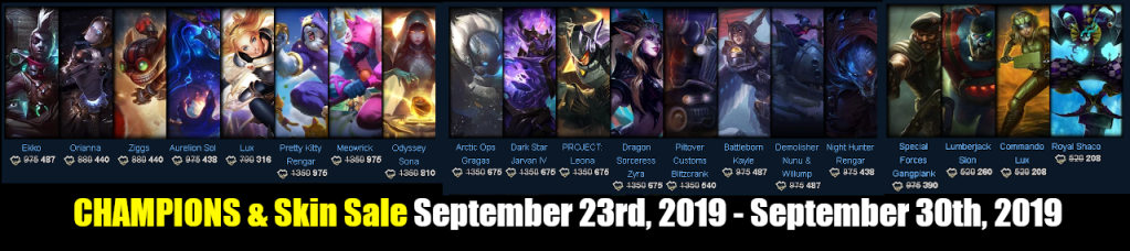 New Champions and Skin Sale September 23 – 30, 2019