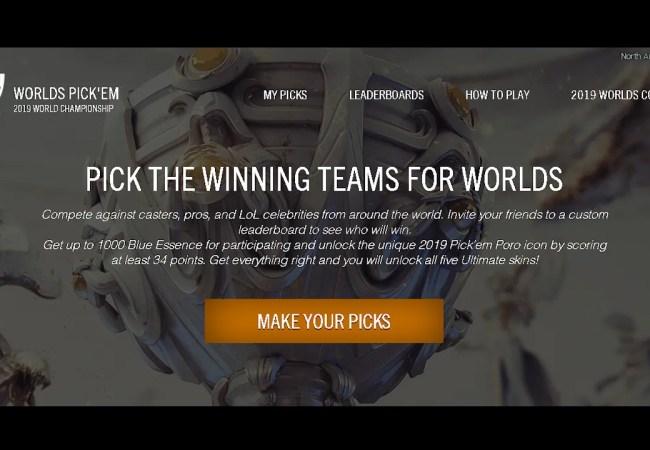 WORLDS PICK'EM 2019 WORLD CHAMPIONSHIP