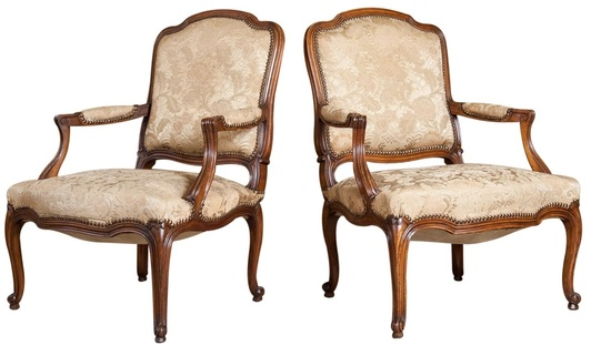 pair french antique louis xv style walnut fauteuils