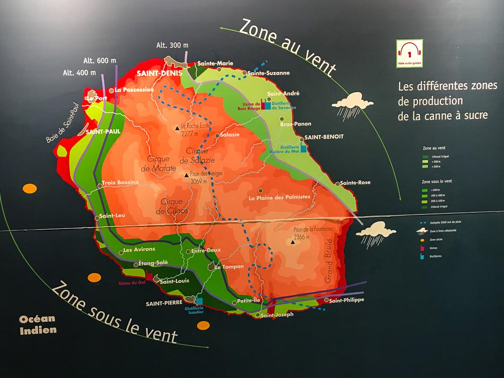 Les zons de production de canne à La Réunion - La Saga du Rhum