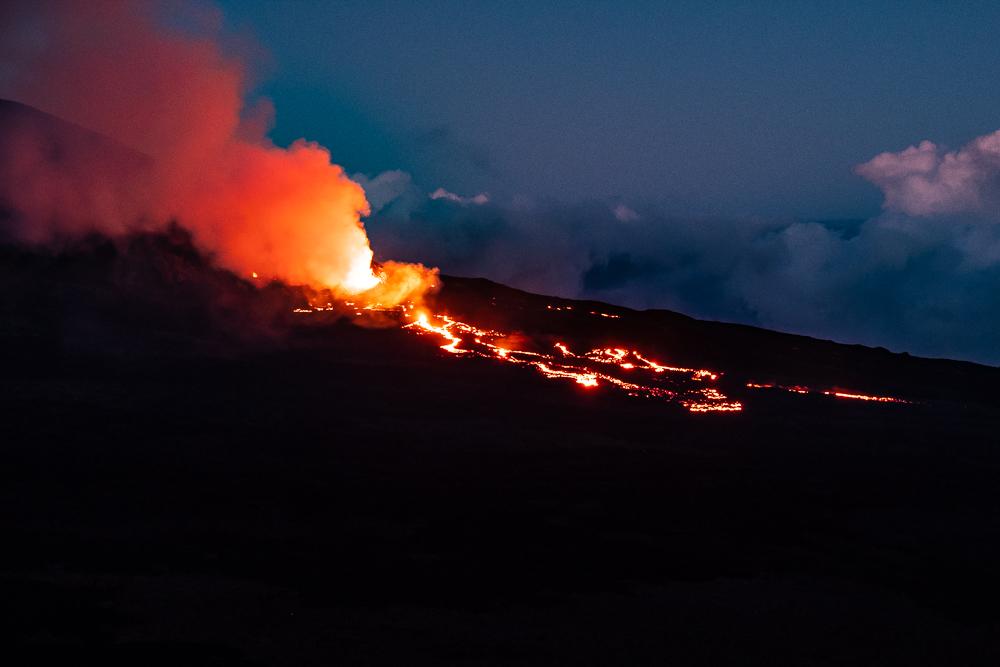 Éruption de 2018, de nuit