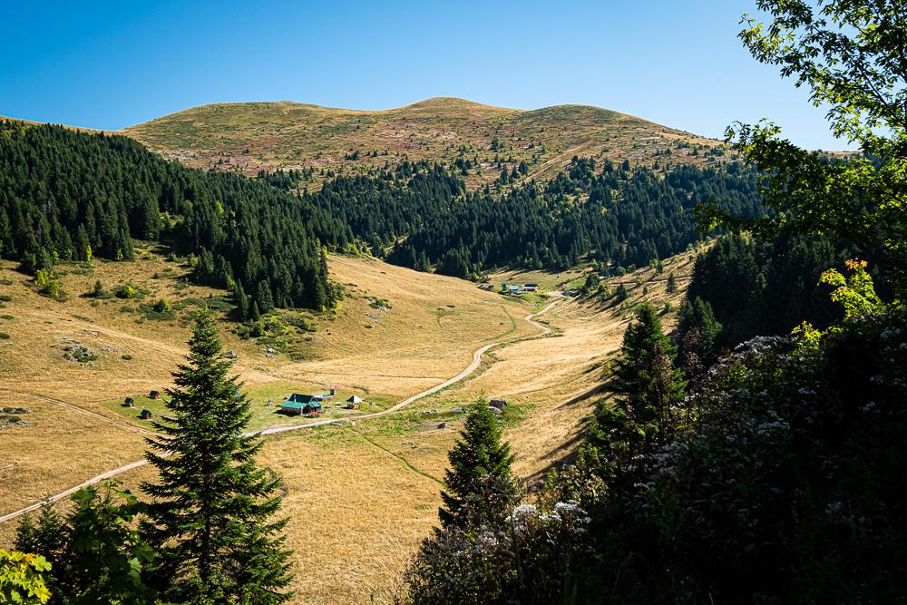"""Sur le sentier vers le mont """"Bendovac"""" et vue sur Katun Eko (katun éco-logis)"""