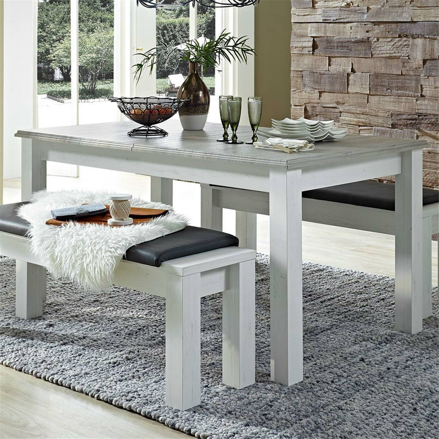 modern country house dining table leer 55 in pine white with abs taupe w h d approx 160 77 90cm