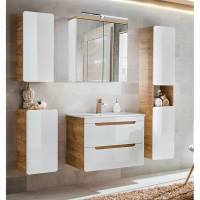 Badezimmer Spiegelschrank 80cm LED Beleuchtung LUTON 56 ...