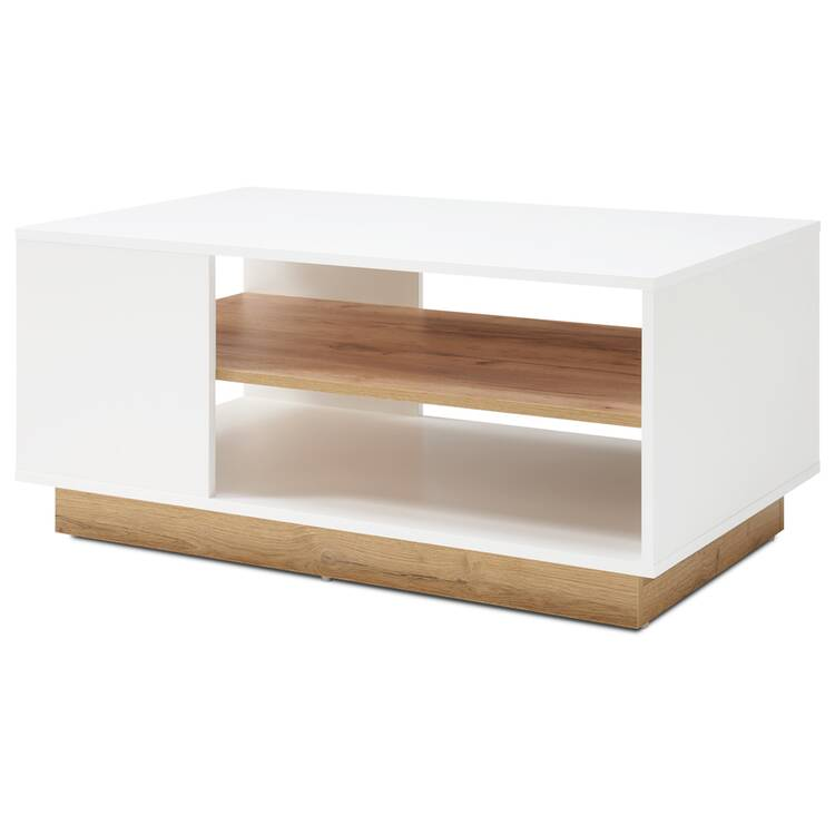 coffee table celle 61 in high gloss white and grandson oak oak color w h d approx 100 46 60 cm