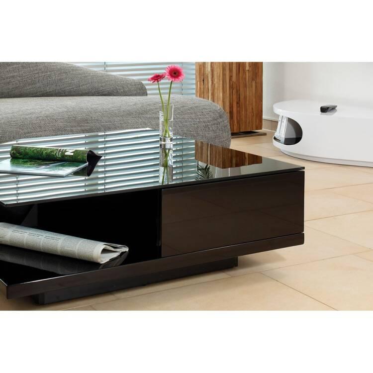 coffee table black high gloss crystal glass top w d h 100 100 36cm