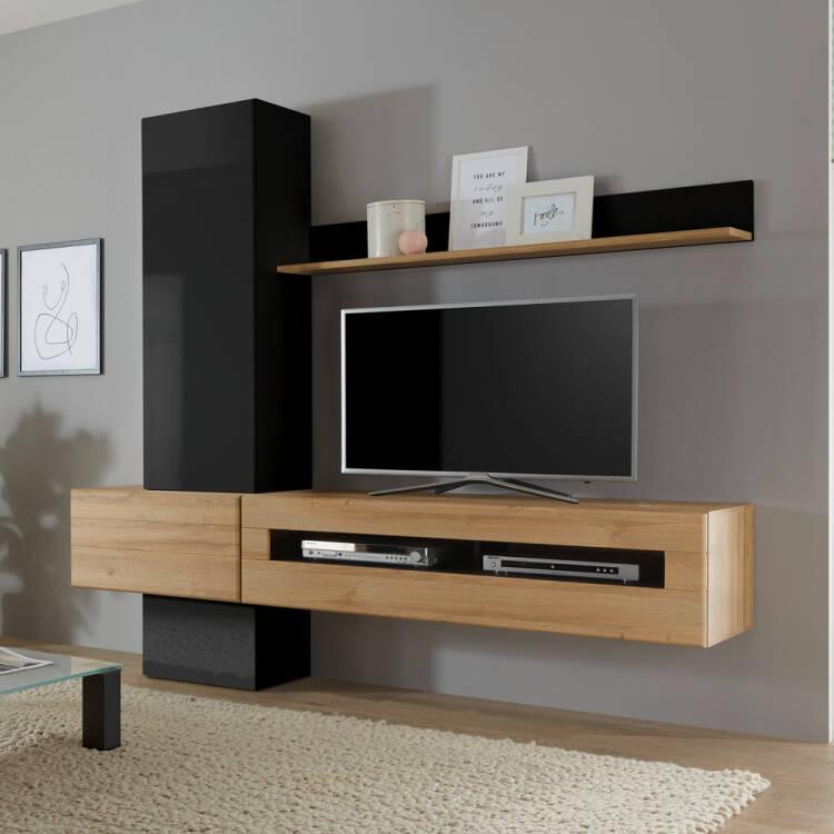 tv media design wohnwand chur 61 in hochglanz schwarz mit eiche hell d