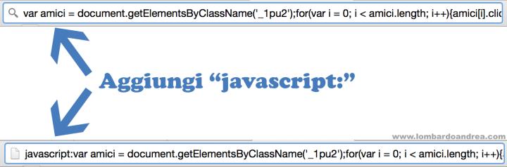Copia e incolla il codice, e ricorda la scritta javascript: