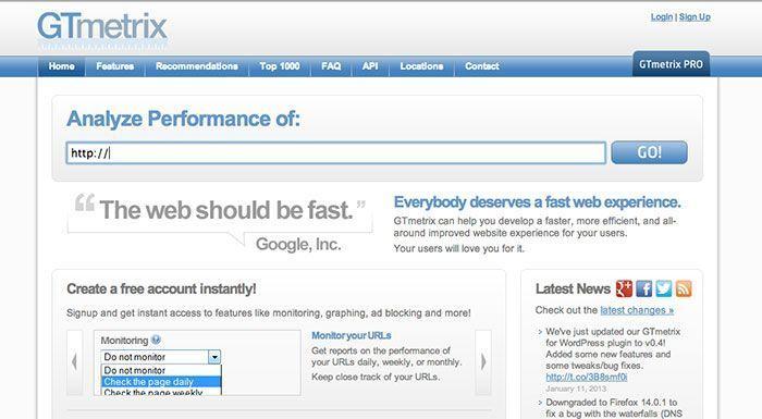 Análisis de velocidad de carga de página web con GTmetrix