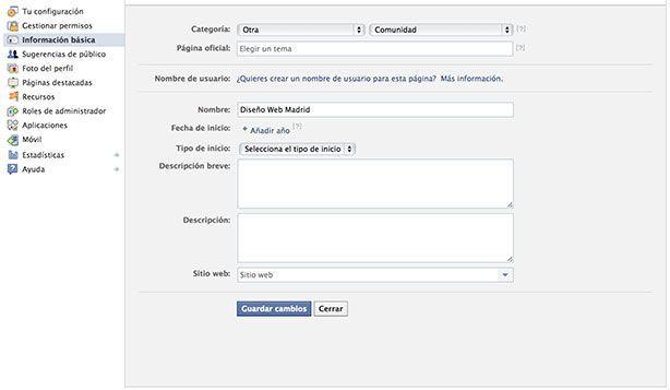 Abrir página de fans en Facebook - Información pública
