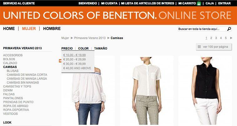 Trucos diseño de tiendas virtuales exitosas - Benetton