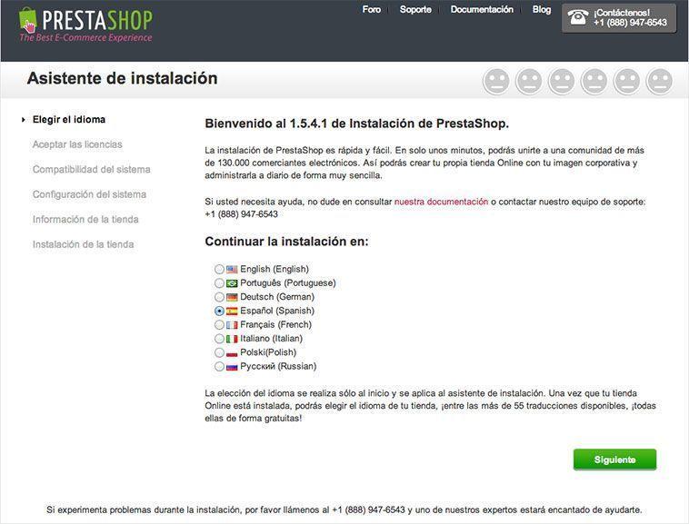Crear una tienda online con PrestaShop - Elección del idioma
