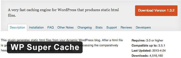 Plugin SEO para WordPress - WP Super Cache