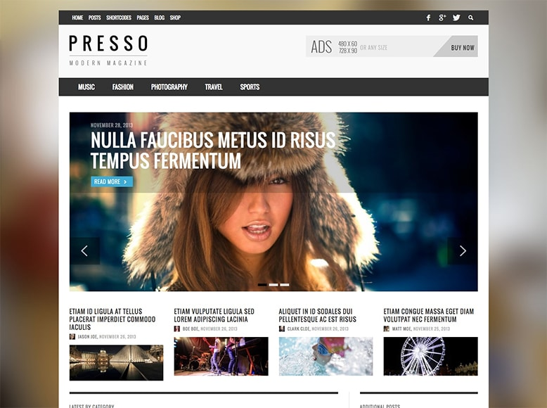 Presso - Tema WordPress para revistas online modernas