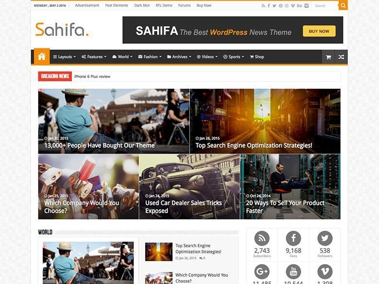 Sahifa - Tema WordPress revistas y blogs de noticias