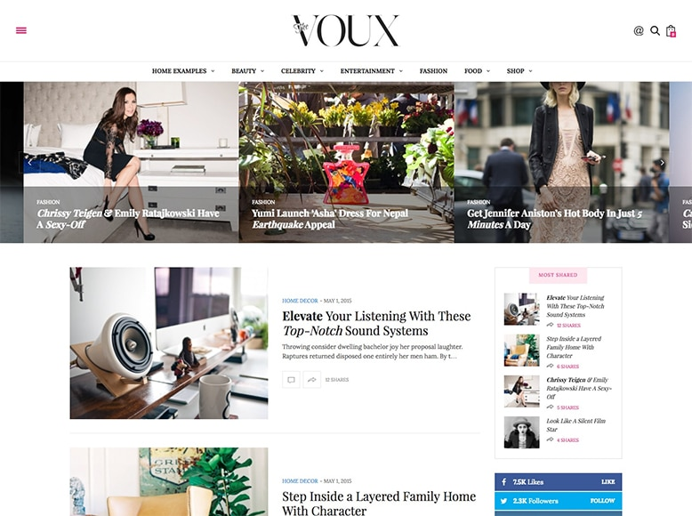 The Voux - Tema WordPress para revistas online elegantes
