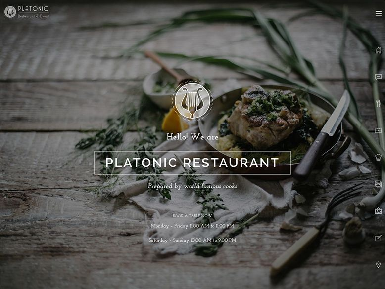 Platonic - Plantilla WordPress para restaurantes modernos