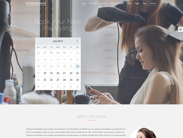 Entrepreneur - Plantilla WordPress para peluquerías, barberías y salones de belleza