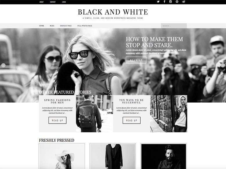 Black & White - Tema WordPress gratis para blogs elegantes de moda y tendencias