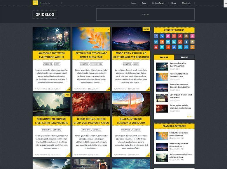 GridBlog - Plantilla WordPress gratis para blogs personales