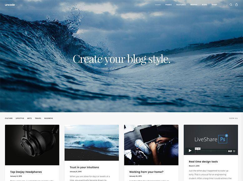 Tema WordPress para blogs personales y de empresa - Uncode