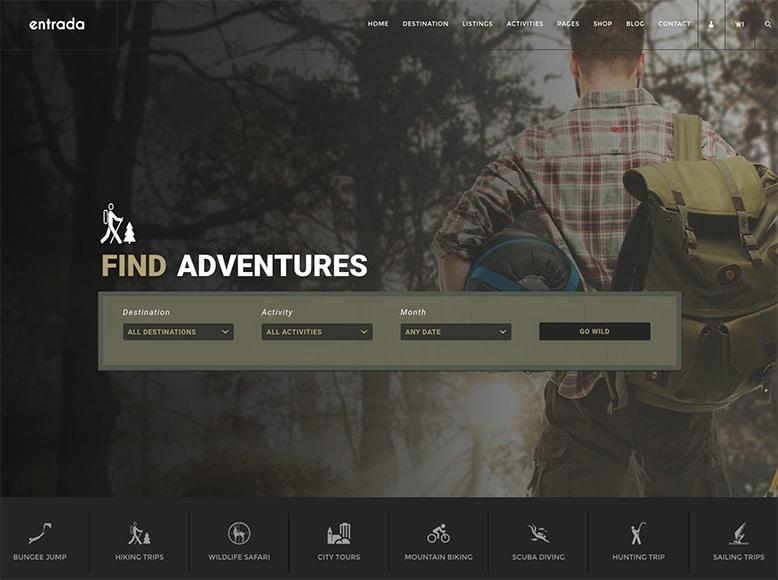 Entrada - Tema WordPress para reserva de viajes de aventuras y tours por ciudad
