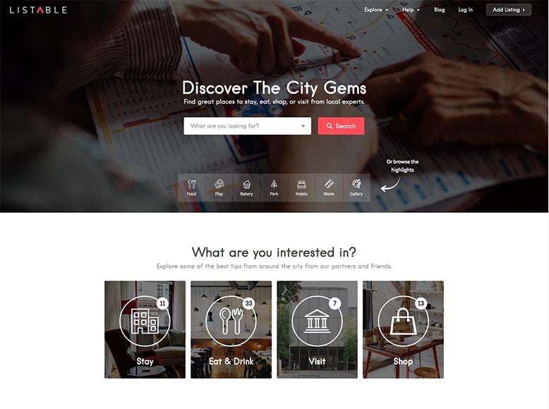 Listable - Plantilla WordPress para directorio de listas de lugares en la ciudad