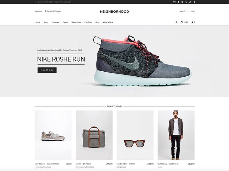 Neighborhood - Tema WordPress para tiendas online moda, calzado y complementos