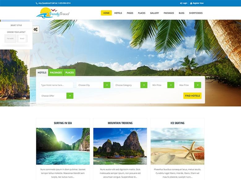 Trendy Travel - Plantilla WordPress para empresas y agencias de viajes, touroperadores