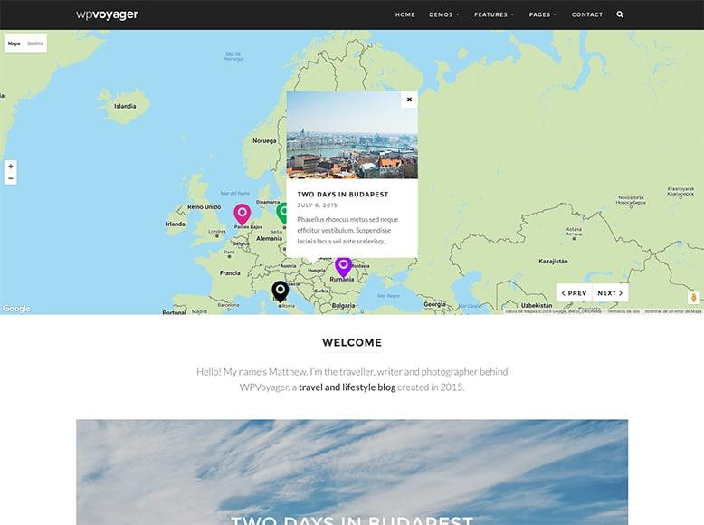 WPVoyager - Plantilla WordPress para blogs de viajes con API Google Maps