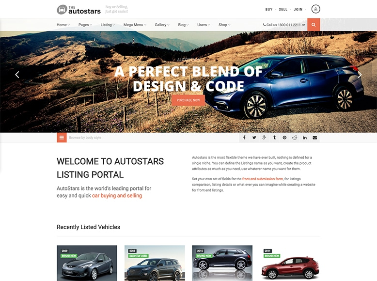 Auto Stars - Plantilla para directorios de venta de coches con WordPress