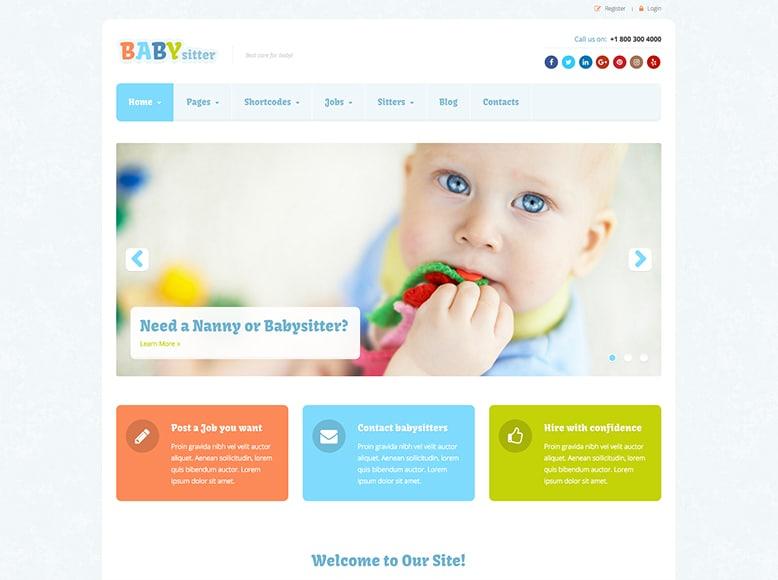 Babysitter - Plantilla para portales de empleo de niñeras y cuidadoras de niños