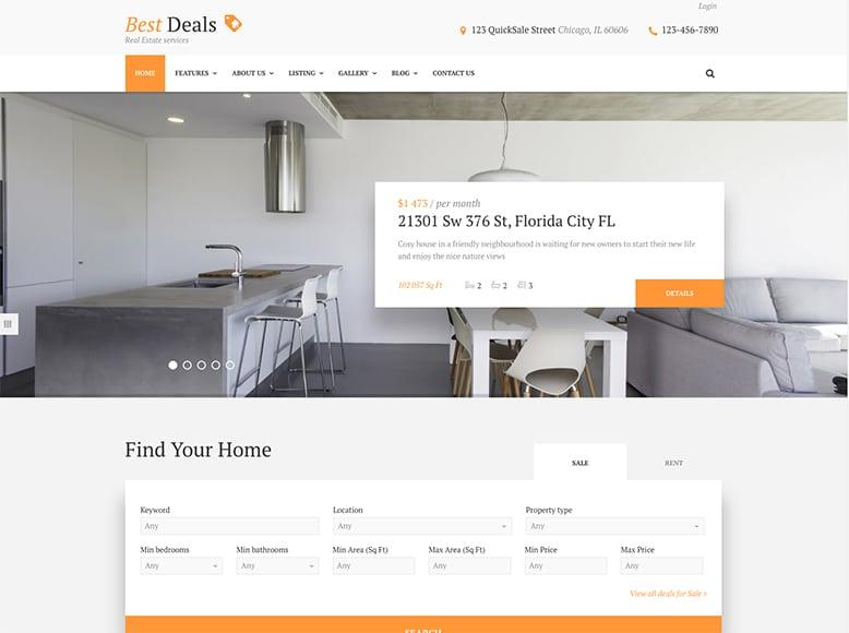 Best Deals - Plantilla WordPress para agencias de venta y alquiler de inmuebles