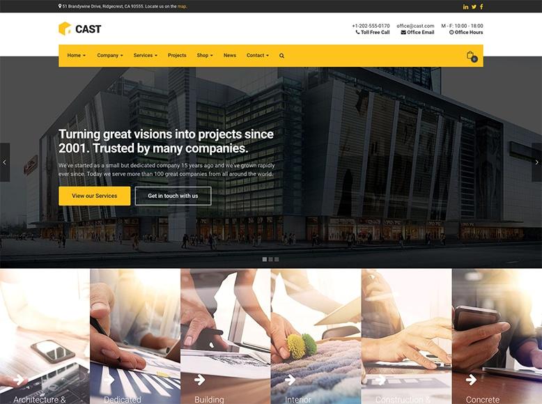 Cast - Plantilla WordPress para empresas de construcción, constructoras y reformas