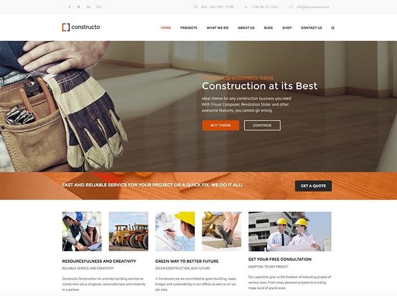 Constructo - Plantilla WordPress para empresas constructoras, de reformas y mantenimiento