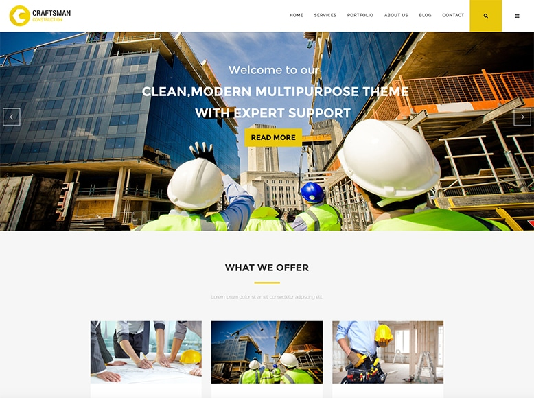 Craftsman - Plantilla WordPress para empresas constructoras, reformas y personal de mantenimiento