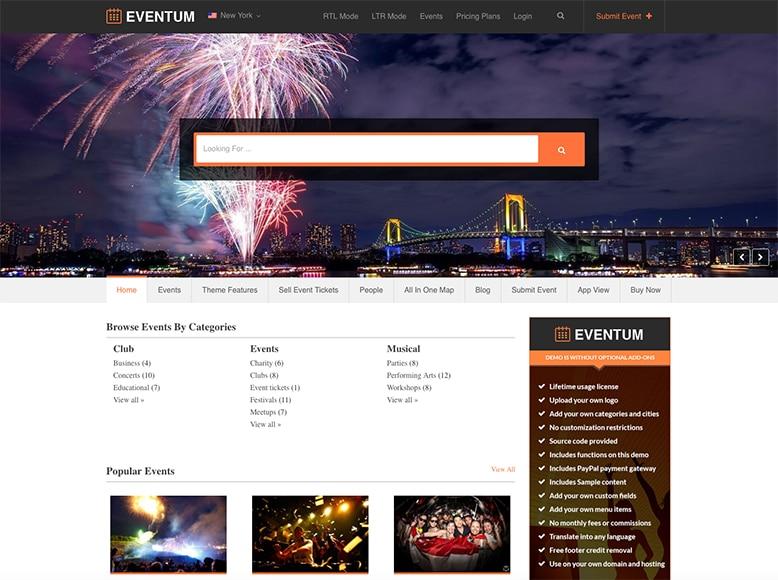 Eventum - Plantilla WordPress para directorios de eventos y actuaciones