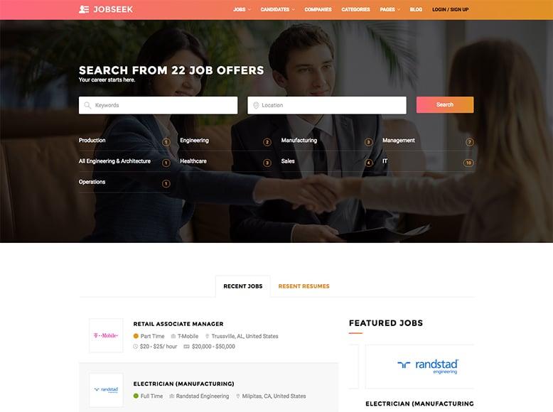 Jobseek - Plantilla WordPress para portales de búsquedas de empleo