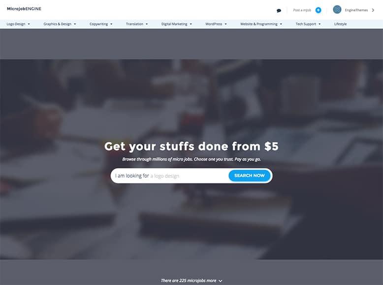MicroJobEngine - Plantilla WordPress para plataformas de microtrabajos
