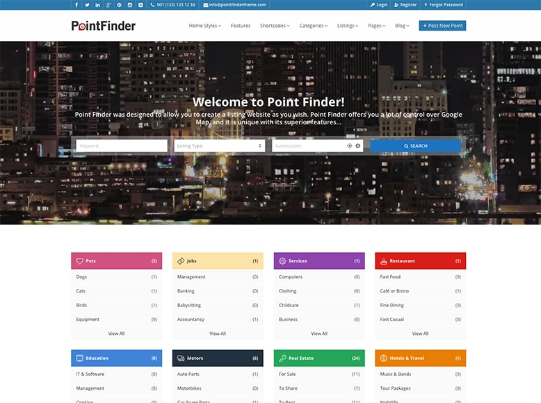 Point Finder - Plantilla WordPress para directorios locales y globales