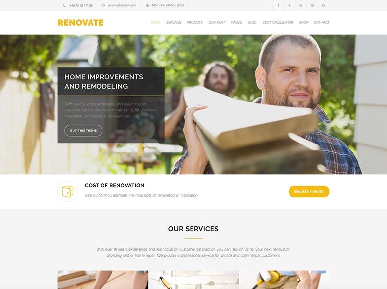Renovate - Plantilla WordPress para empresas de reformas y construcción