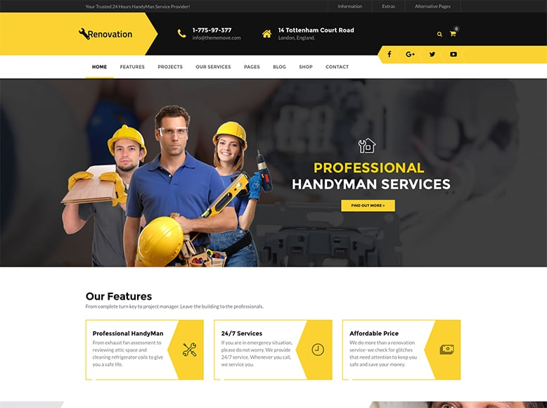 Renovation WP - Plantilla WordPress para empresas de reformas y construcción