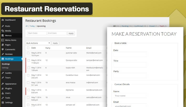 Restaurant Reservations - Plugin WordPress de sistema de reservas en restaurantes